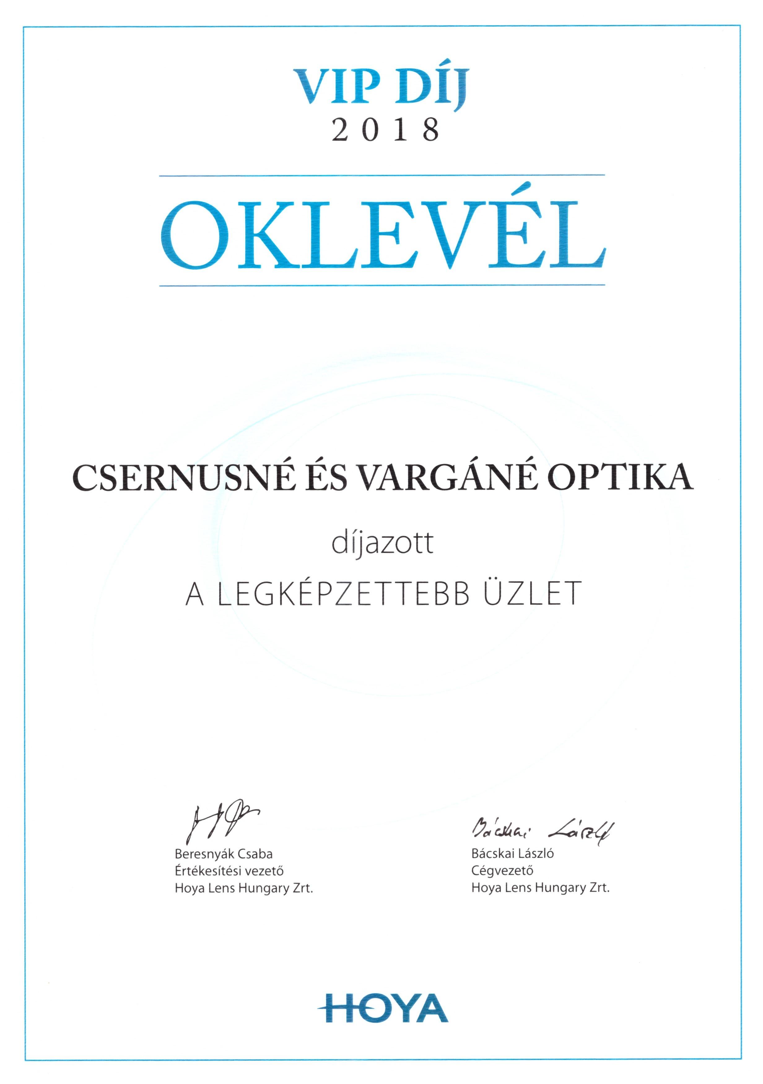 HOYA VIP díj 2018 - Csernusné és Varágné Optika, mint a legképzettebb optikai üzlet